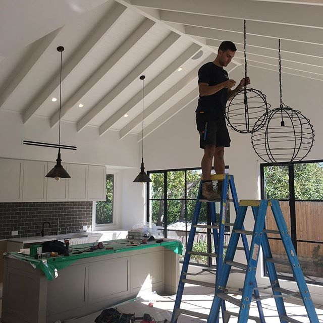 Final touches on this project, big hanging ball pendant lights, #dynalite #homeautomation . . . . . . . . #melbourneectrician #melbournehomeautomation #residentialelectrician #design #gardenlights #shopfitttingelectrician #data #electrical #morningtonelectrician #ledlighting #construction #shopfitting #builders #dynalite #cbus #electrical #electrician #lights #gardenlights #automation #switchboards #domestic #commercial #generalelectrical