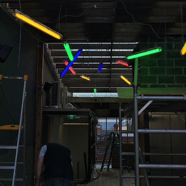 This colourful project is starting to take shape #kareokebar #rooftopbarmelbourne . . . . . . . . #melbourneectrician #melbournehomeautomation #residentialelectrician #design #gardenlights #shopfitttingelectrician #data #electrical #morningtonelectrician #ledlighting #construction #shopfitting #builders #dynalite #cbus #electrical #electrician #lights #gardenlights #automation #switchboards #domestic #commercial #generalelectrical