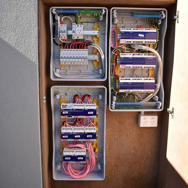 Switch board completed today #cbus great looking build by @uwood_projects and awesome design by @studiofour.net.au . . . . . . . . #melbourneectrician #melbournehomeautomation #residentialelectrician #design #gardenlights #shopfitttingelectrician #data #electrical #morningtonelectrician #ledlighting #construction #shopfitting #builders #dynalite #cbus #electrical #electrician #lights #gardenlights #automation #switchboards #domestic #commercial #generalelectrical