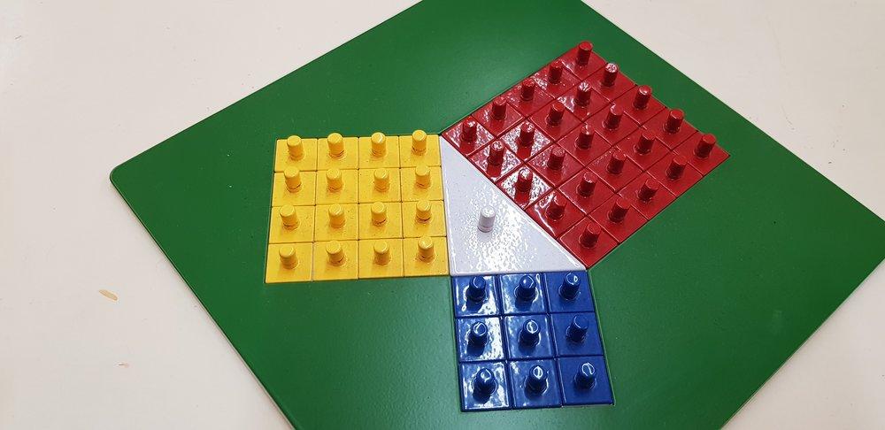 畢氏定理   藉由觀察直角三角型的三個邊長所各自展開的面積大小,將面積轉換成實際數量,觀察與操作三個面積的關係,藉以具體了解直角三角形兩股平方和等於斜邊平方的面積關係。讓孩子知道公式發展的思考歷程,而不是死背公式。