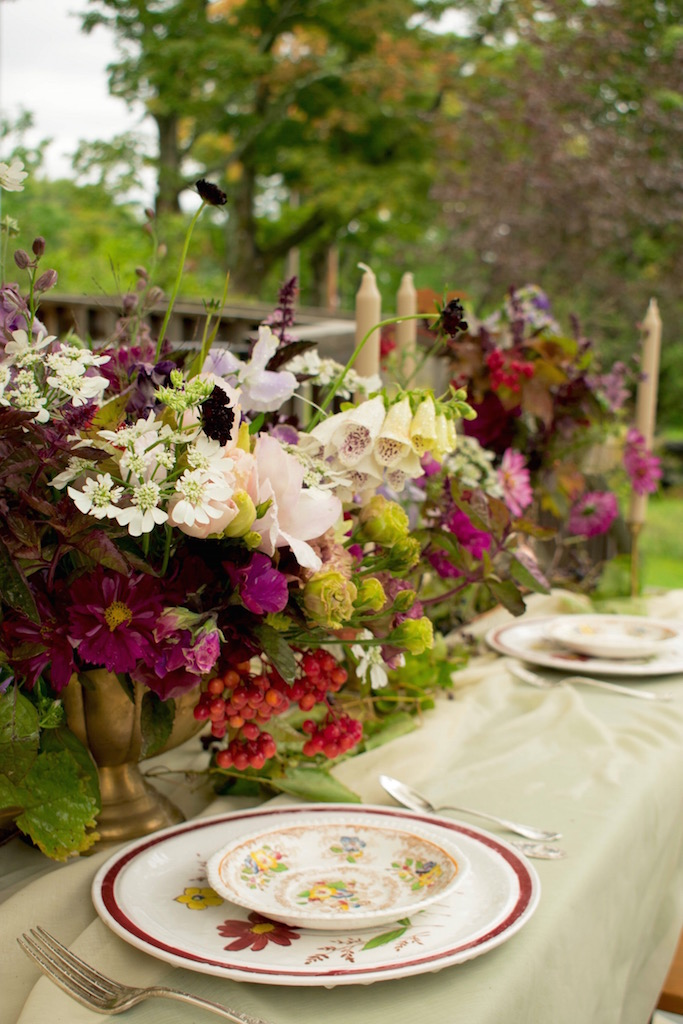 Fall tablescape at the Old Stone House Museum wedding venue, Brownington, Vermont