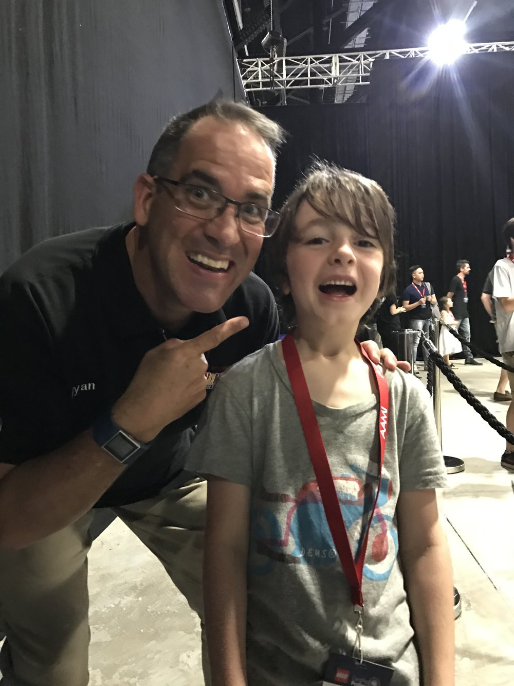 Sharing moments - Jethro meeting Brickman - Australia's only official Lego designer.