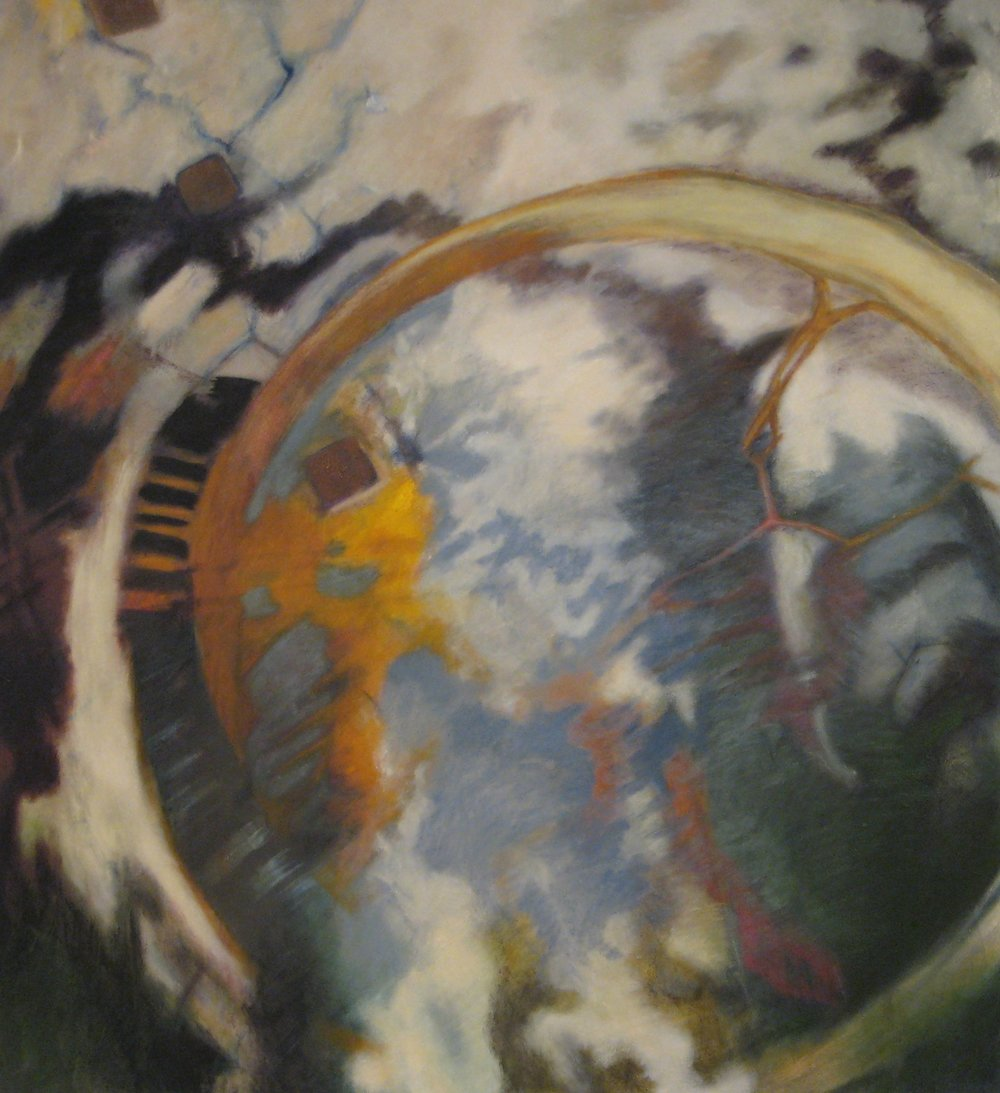 Ouroboros III: Separation  2005 oil & sand on canvas 70x65""