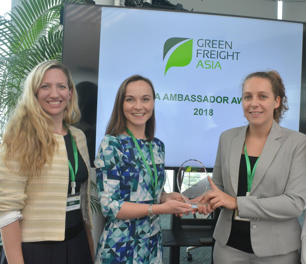 "Agata (centre) with Lorelei Coryn (right), Head of Customer Service, Logistics & Planning, Supply Chain, HEINEKEN Malaysia and Karlyn Adams, Associate Director of BSR   ""We are extremely honored to be receiving such an important award. We are grateful for the recognition we have received for our collaboration and we believe this will allow HEINEKEN and GFA to enhance the partnership even further.  As a leading global company, we believe it's our responsibility to reduce CO₂ emissions across the value chain, from Barley to Bar. Our new transformational programme 'Drop the C' aims to significantly reduce carbon emissions from across the business, but we simply cannot do this alone. We are delighted that GFA stands by our side and helps us to reach our goals by delivering insightful trainings and unique expertise.  Once again, thank you so much for the recognition as well as your continuous support, and we look forward to collaborating with GFA even more in future.""   - Agata Krasocka Global Lead Logistics, Global Customer Service and Logistics, HEINEKEN Supply Chain"