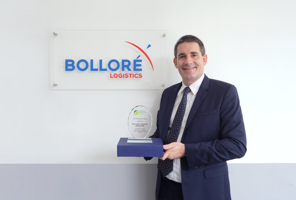 """We are truly honoured to receive the Ambassador Award from Green Freight Asia. Over the years of collaboration, we have established a great partnership with Green Freight Asia, and we are grateful for their utmost support towards our efforts to bring sustainability in freight operations to the next level. Being one of the global leaders in logistics and supply chain management, Bolloré Logistics is committed to continue leading the growth and promotion of green innovations and initiatives in the years to come.""    - Frédéric Marcerou, Managing Director, Bolloré Logistics Singapore"