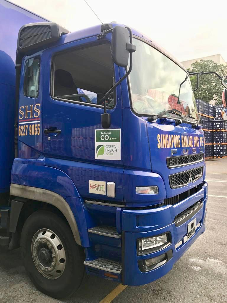 The fleet sticker on Singapore Haulage Services's truck