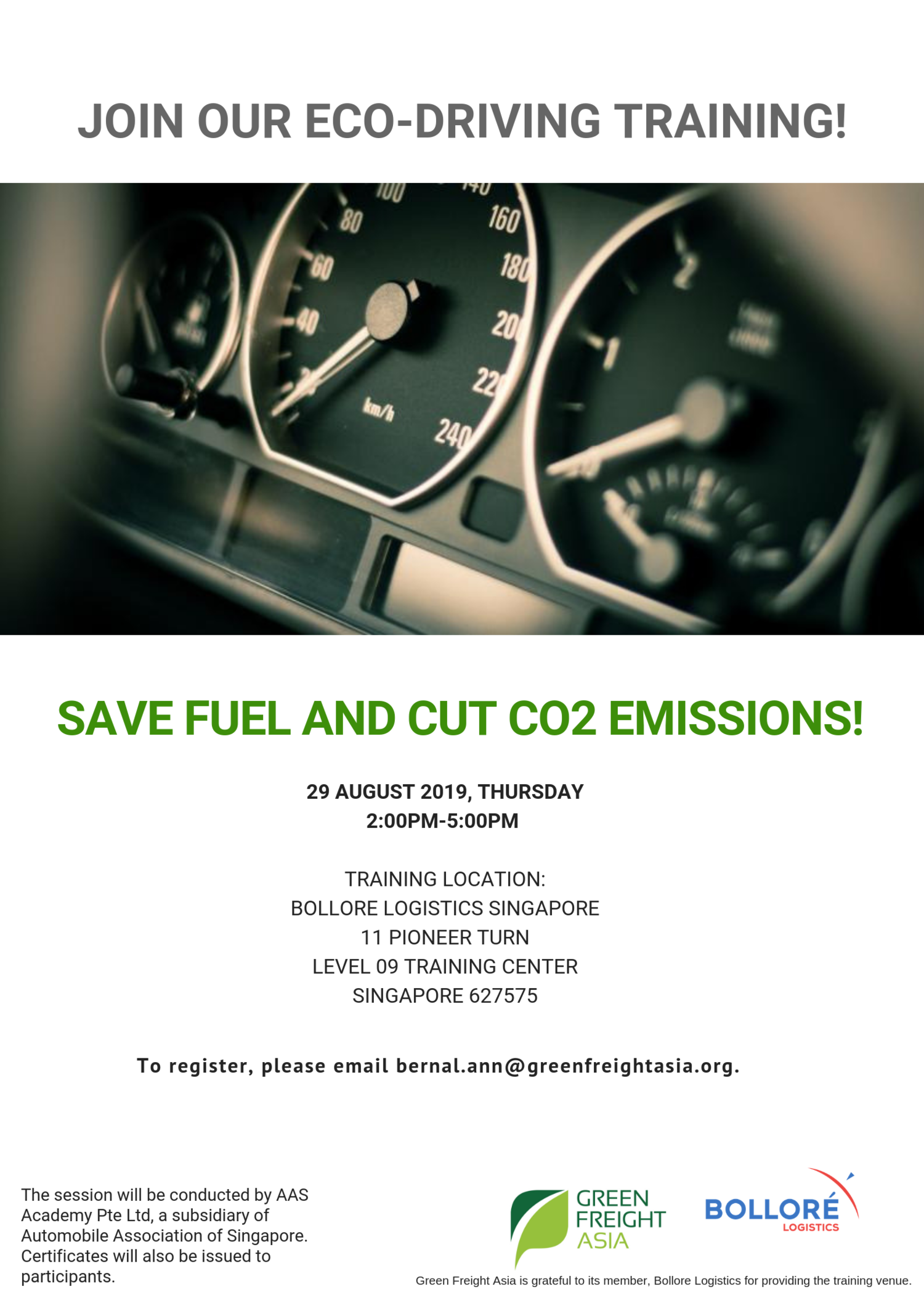 Register at our 29 August Eco-driving Training (Singapore