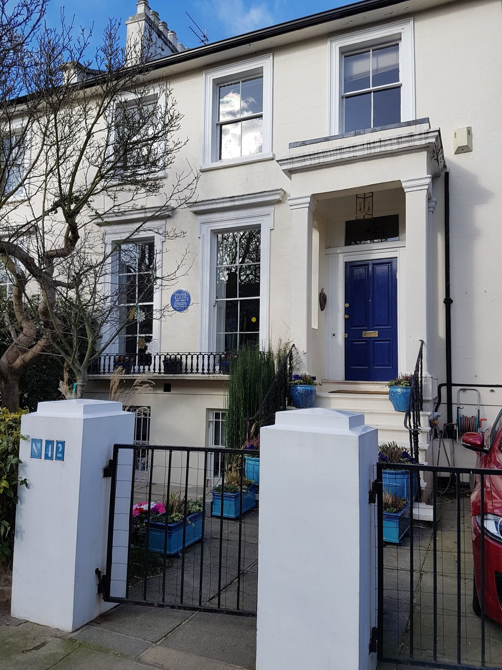 Melanie Klein's home - including a very strategically placed bench for a very welcome rest