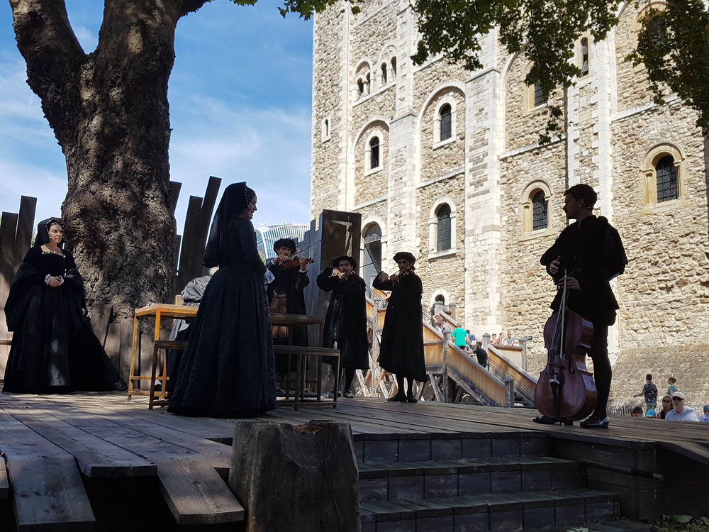 Anne with her co-accused - the musician Mark Smeaton, Sir Francis Weston, the King's favourite Henry Norris, and her brother George Boleyn