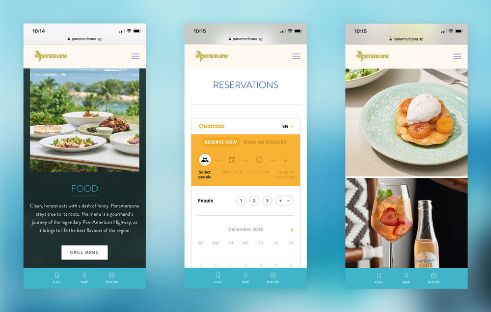 For example, this restaurant website has a special menu bar that appears only on mobile with shortcuts to call the place, view directions on a map or check opening hours.