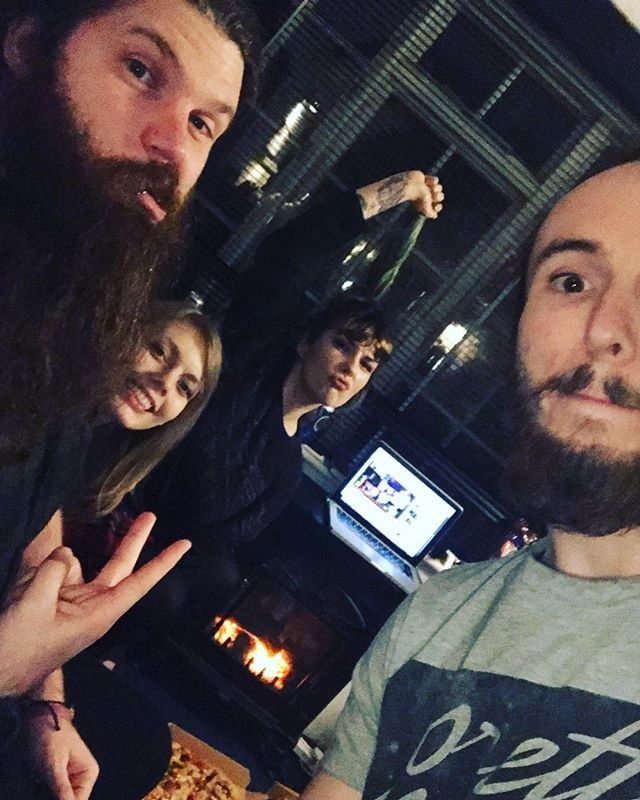 Traditional studio dominos! #traditional #dominos #dominospizza #beard #food #party #winter #studio #music #album #band