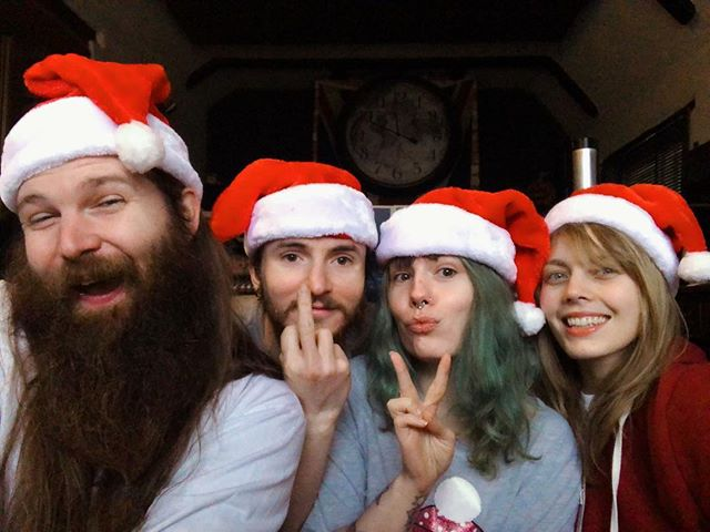 1st December in the studio!!! Feeling festive! #christmas #christmasdecorations #xmas #xmastree #christmashats #beard #beards #greenhair #party #december #festive #happy #family