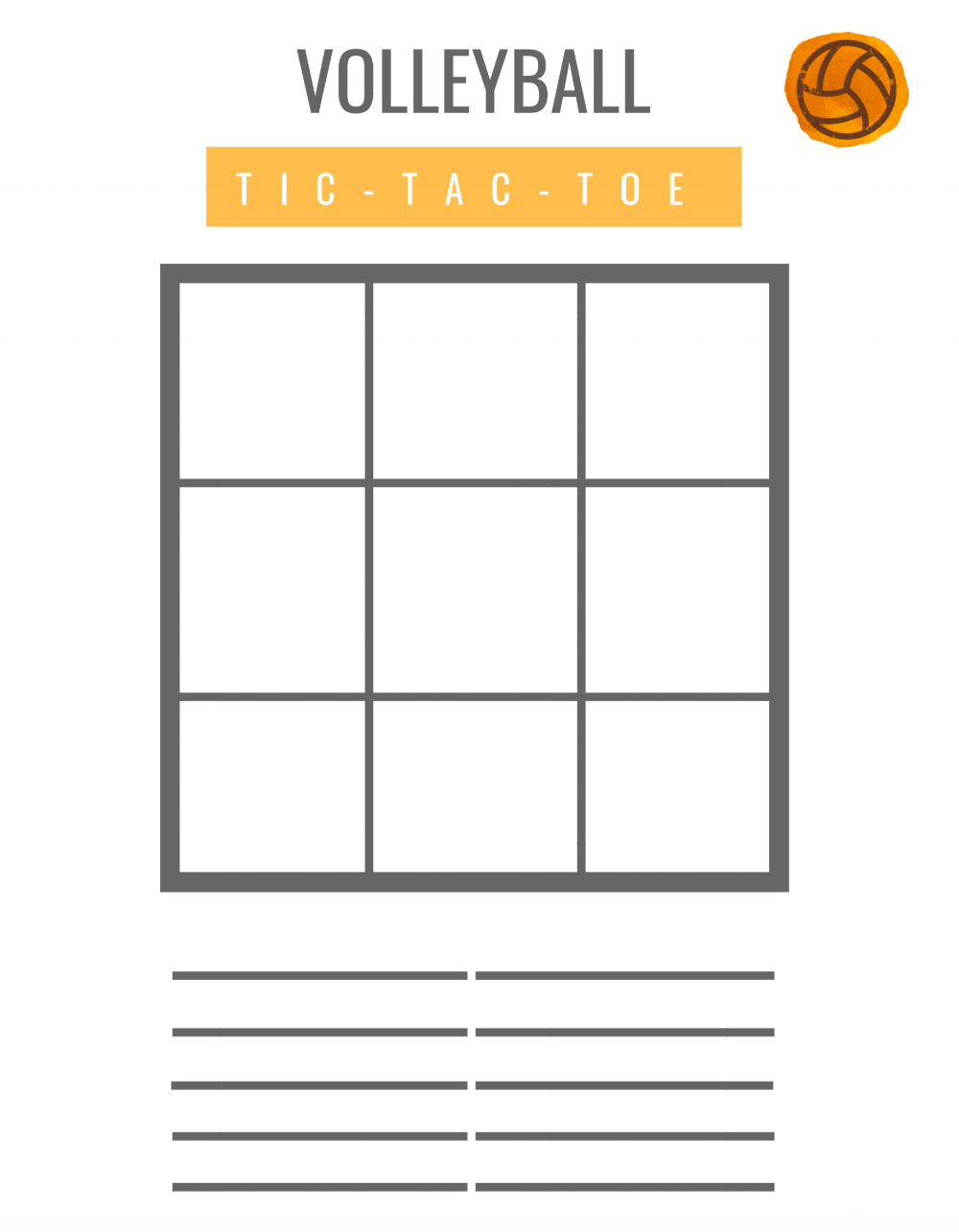 Tic-Tac-Toe | A FREEVolleyball Goals Worksheet - Watch the video to learn how to use this FREE volleyball goal setting worksheet at your next practice or tournament!