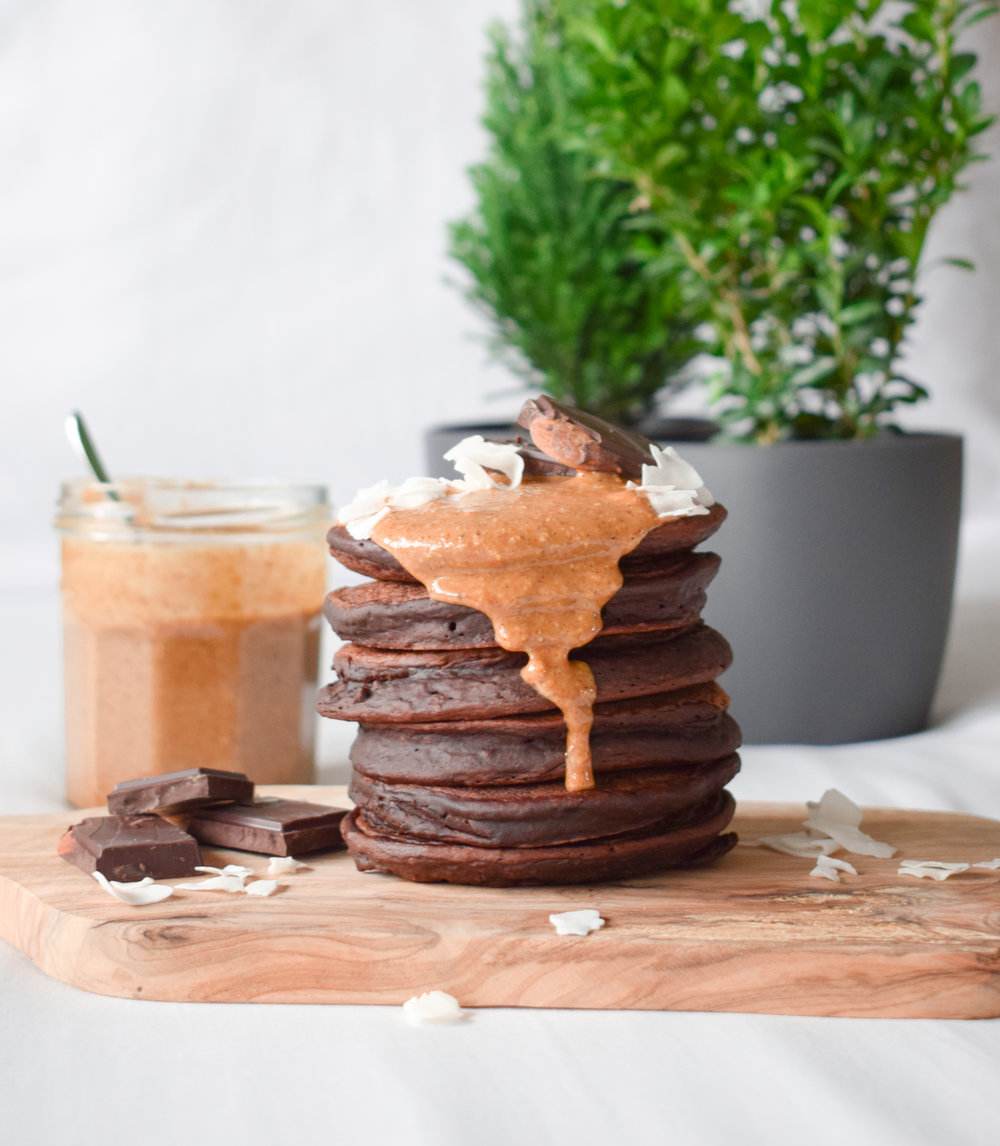 Nut Butter on top of Chocolate Pancakes by Ally The Earthling