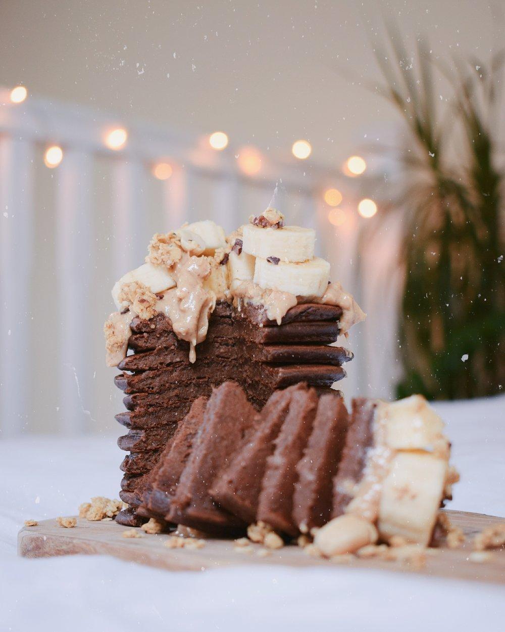 Chocolate & Peanut Butter Pancake Stack