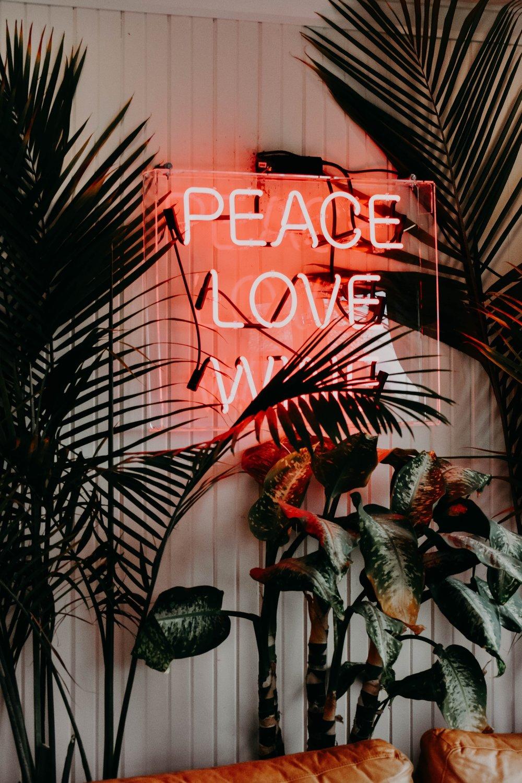 Peace, Love, no War neon light
