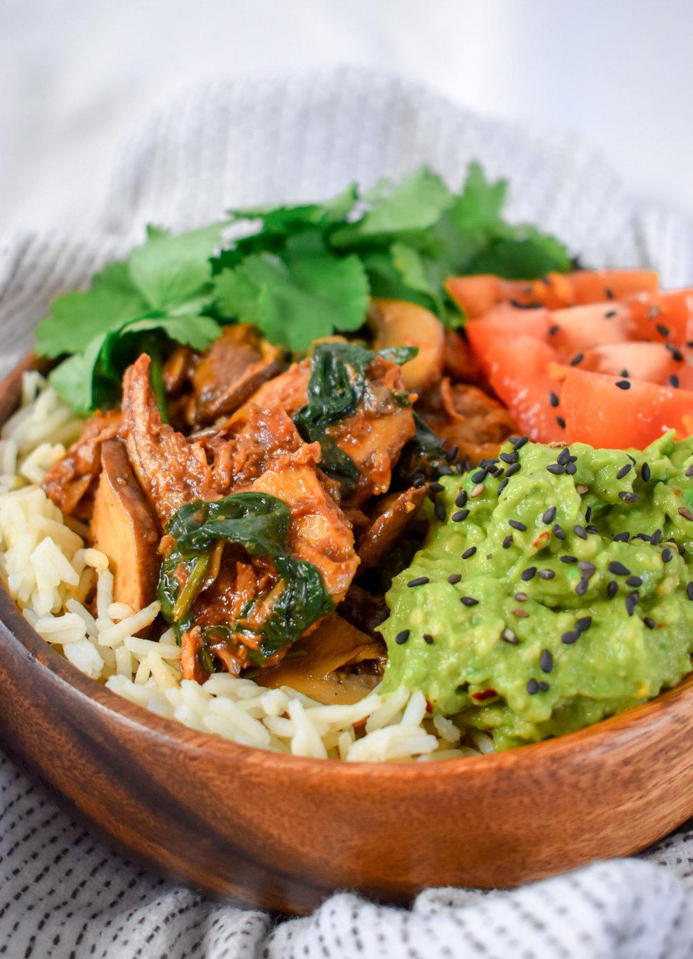 Vegan Oumph! Buddha Bowl with Avocado, Coriander, Tomato and Rice - Ally The Earthling