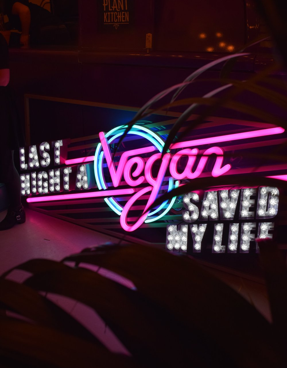 Last Night A Vegan Saved My Life sign