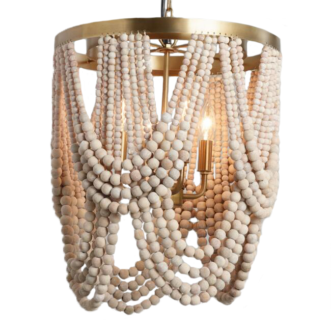 Whitewash Wood Draped Bead 4 Light Chandelier / World Market