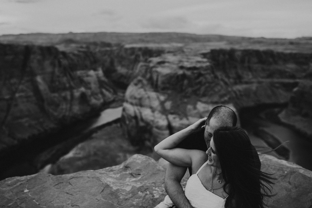 Bree + Alex   Adventurous engagement session at Horsehoe Bend in Arizona.