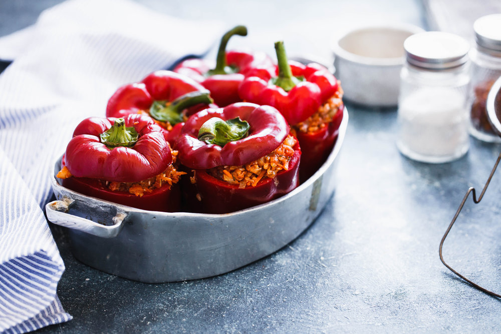Stuffed peppers in metal tray