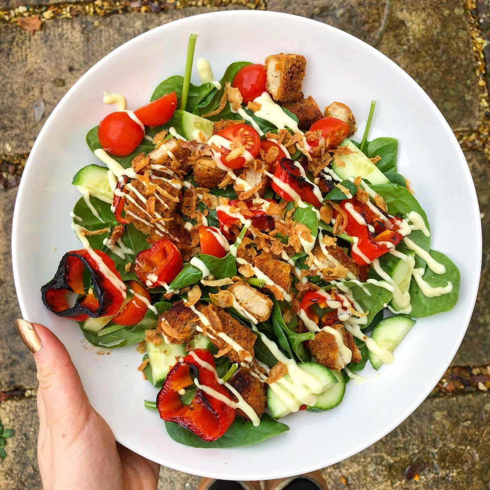 Try this salad for an immune boost: spinach, roasted peppers, cherry tomatoes,chicken, cucumber, crispy onions and salad cream - this dish is packed with vitamin C!