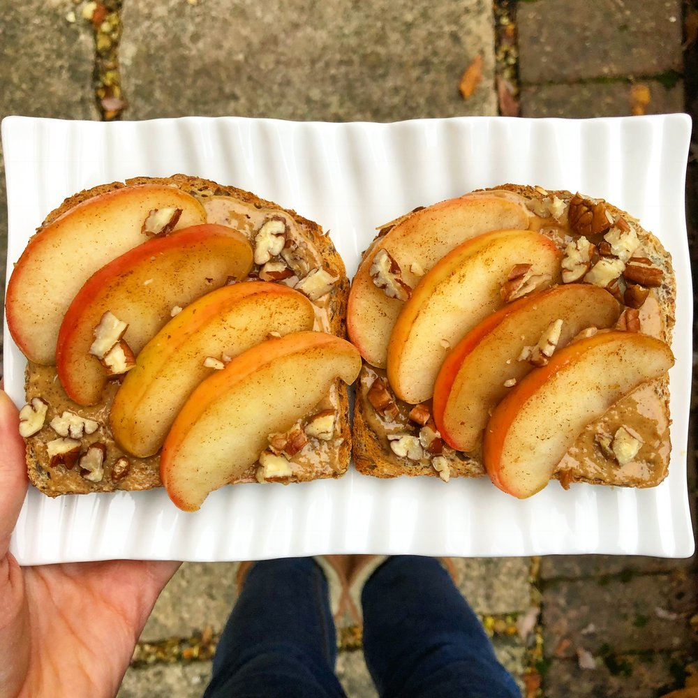 Some wholemeal toast with peanut butter, cinnamon spiced apples and chopped pecans is a fibre-filled breakfast option.