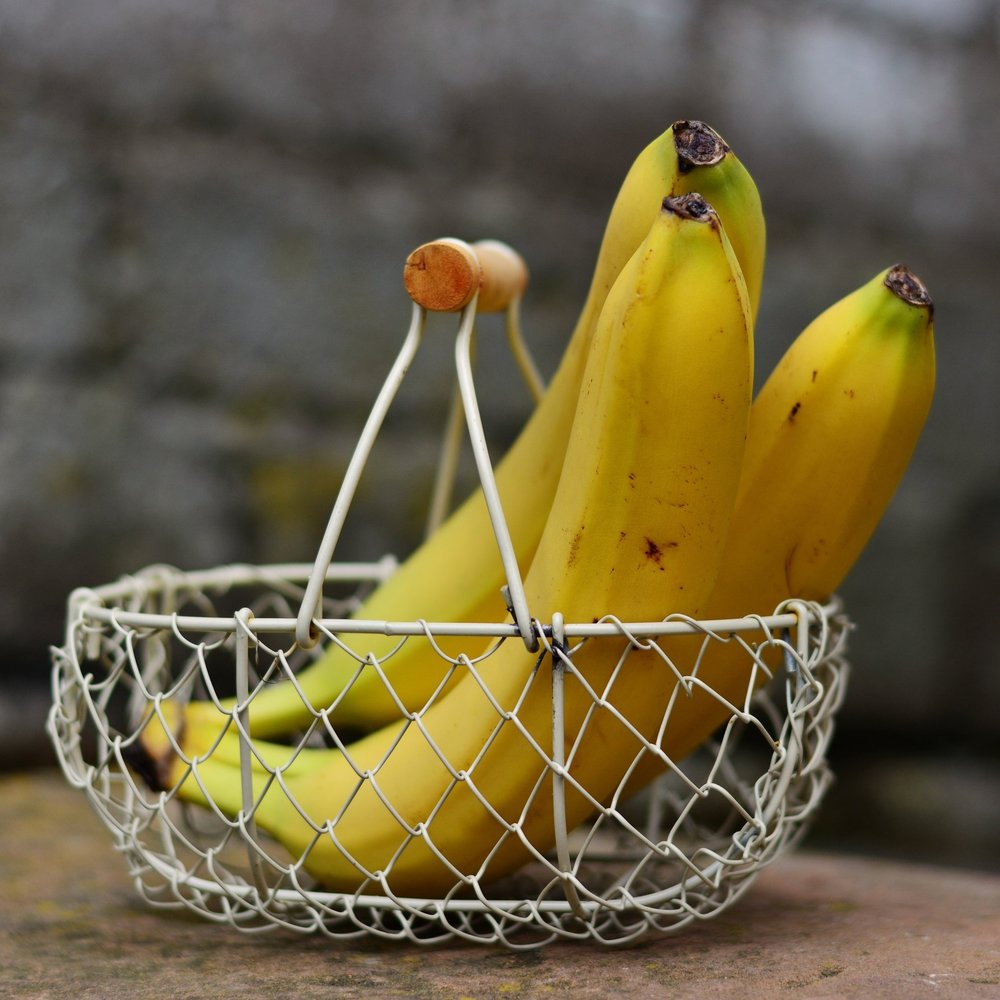 Bananas in wire basket