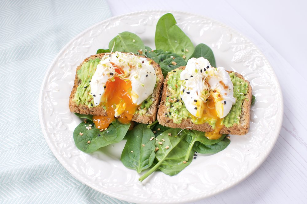 The classic poached eggs and avocado on toast is a great source of some bone-loving nutrients: vitamin D (eggs), vitamin K (spinach and avocado) and protein (eggs).