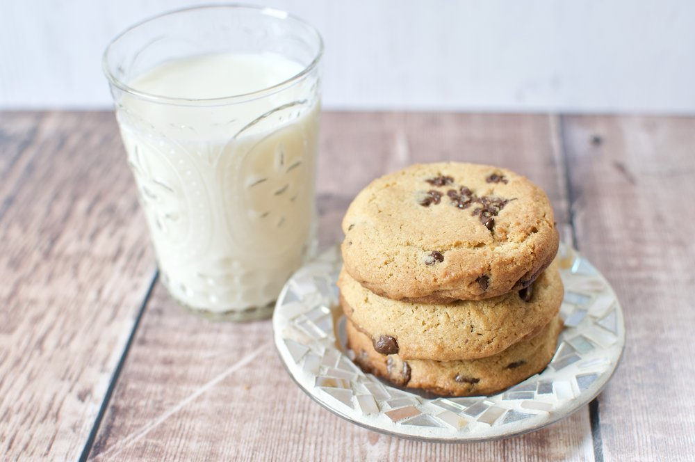 A glass of milk and my ultimate  peanut butter & chocolate chip cookies  - a great way to get some calcium in to your diet!