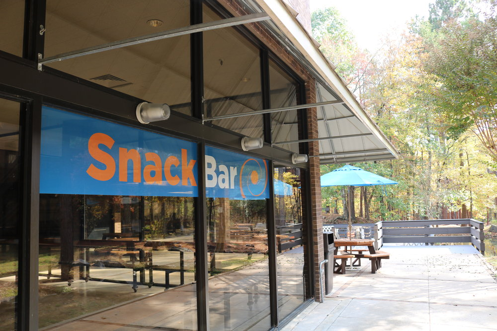 Hungry? Take a break from science & grab something sweet or savory in the museum snack bar!   - Snack Bar Hours of Operation:June 1st - August 3rd  Tuesday - Saturday 11 am to 4 pm.Closed Sunday & Monday Outdoor picnic areas also available to guests.