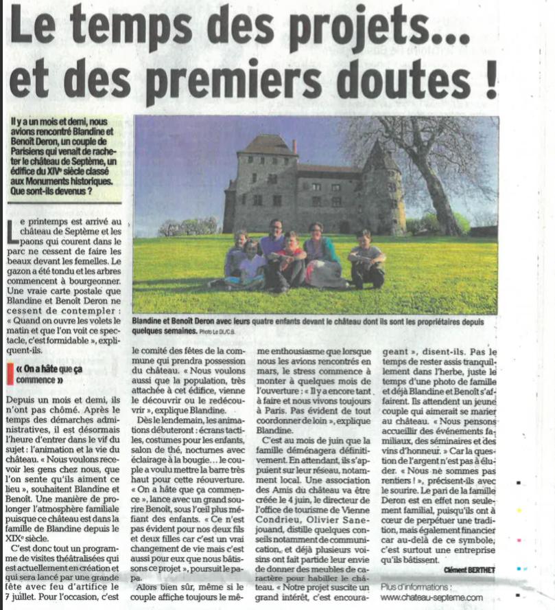 Dauphiné libéré avril 2018