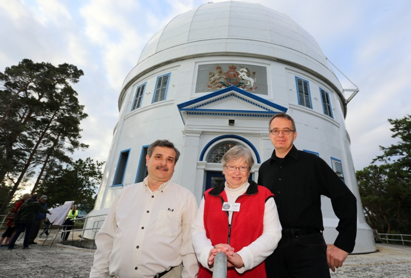 From left, Ben Dorman, volunteer Lauri Roche and Don Moffatt are part of a non-profit society that hopes to restore the former glory of the Centre of the Universe, which was shut down in 2013 as part of federal budget cuts.  Photograph By ADRIAN LAM, TIMES COLONIST