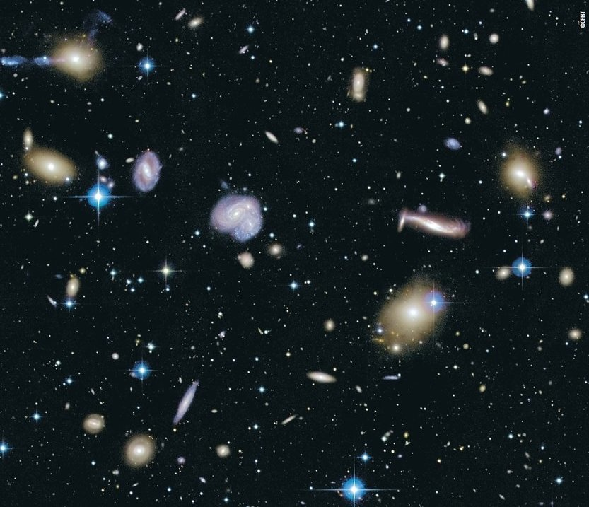 A cluster of distant galaxies (Canada France Hawaii Telescope image, courtesy NRC/CFHT)