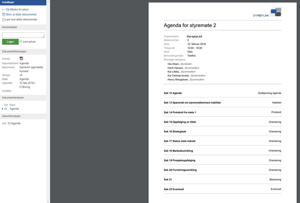 Med Styreplan slipper du å bruke tid på å fikle med formatering av saksbeskrivelser og annet innhold. Vår standardmal er lettlest og konsistent, og produserer automatisk i Styreplan.