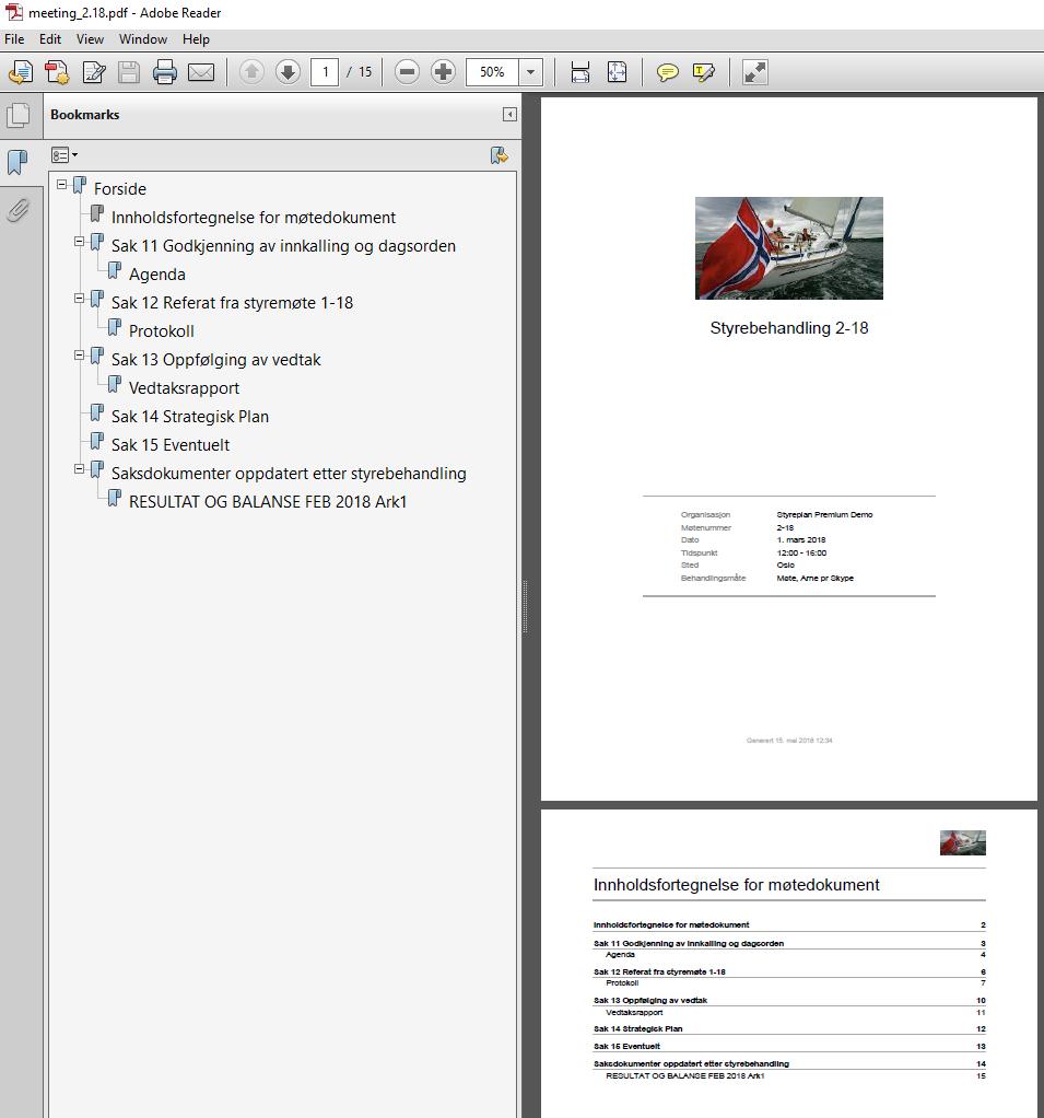 Opplastede saksdokumenter inkluderes automatisk i et møtedokument som enkelt kan skrives ut eller distribueres utenom Styreplan ved behov. Dokumentet oppdateres løpende og du slipper å konvertere og slå sammen filer på egenhånd.