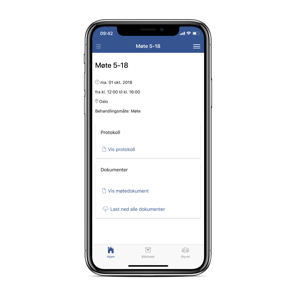Rask tilgang til møtedokumentet fra appen