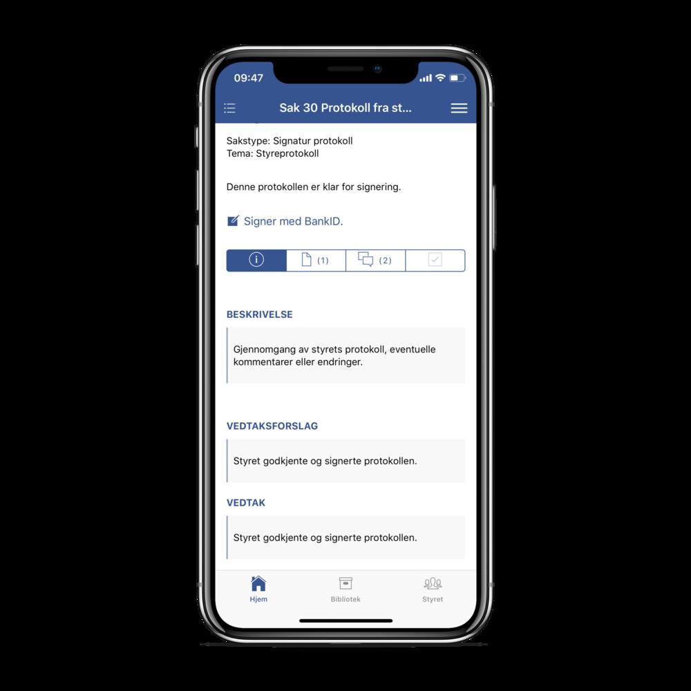 Protokoll kan signeres med BankID, ogsårett fra appen