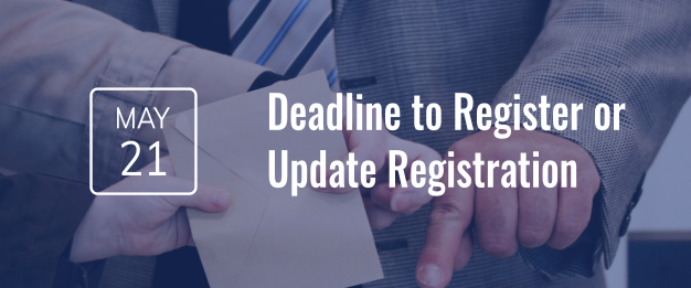 Update Your Voter Registration by May 21, 2018