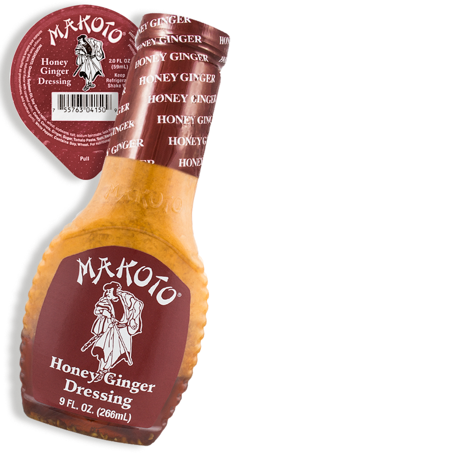Honey Ginger Dressing - A blend of fresh, natural and healthy ingredients. Use as a dressing, glaze or dip. (Product has limited availability. Please inquire with produce manager if not found). Available in portion cups (2 oz. servings).