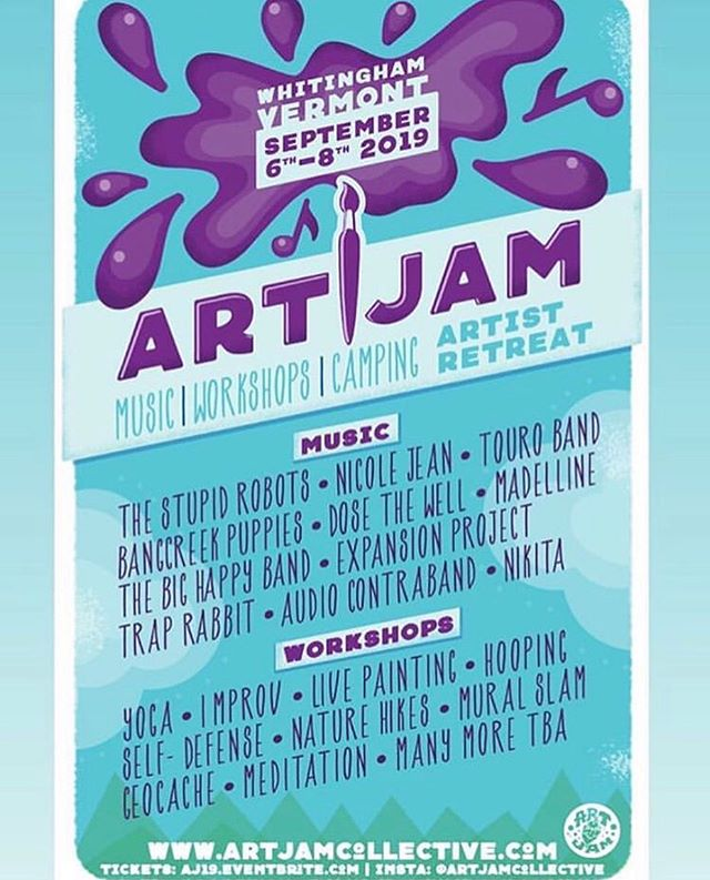 We are so stoked to be playing Art Jam 2019!!! We made so many friends last year and we cant wait to hang once again. Tickets on sale now! Don't sleep on this people. This festival has already created a beautiful, intimate community of people passionate about art and life. We're so grateful to be invited back.