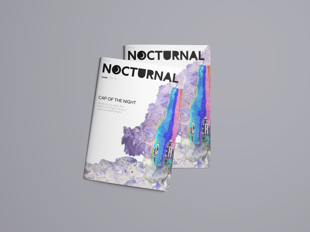nocturnal - Goal of this project was to design a magazine prototype about a topic in Seattle. Nocturnal focuses on the night life and what it is like to go out in Capitol Hill. The contents covers the various prototyped departments this