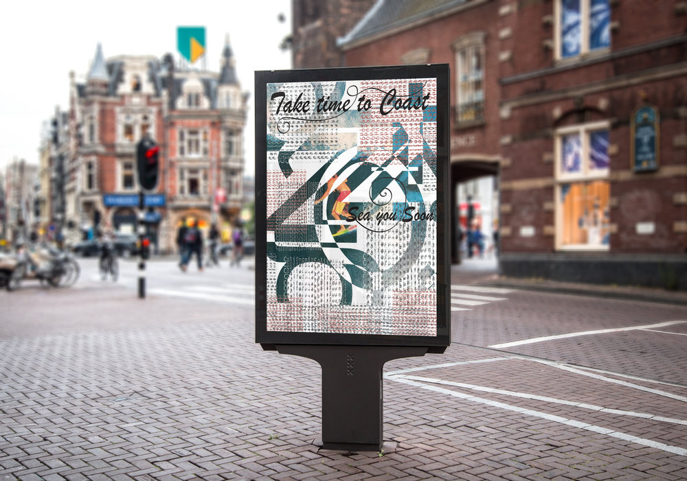 Take time to coast - Goal of this project was to design a billboard poster that included pattern, imagery representing culture, and typography connecting to heritage. The type behind the patterned print spells out King in German.