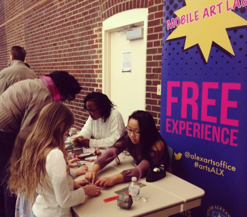 Image via @alexartsoffice on Instagram.  The mobile art lab set is out for First Friday at the Durant Center. Participants made paper lanterns and fortune tellers were on hand to celebrate Chinese New Year.