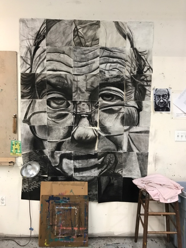 Work by multiple students in the beginning drawing class. Each student will work on 1 or 2 sections of the overall piece to make one larger piece.