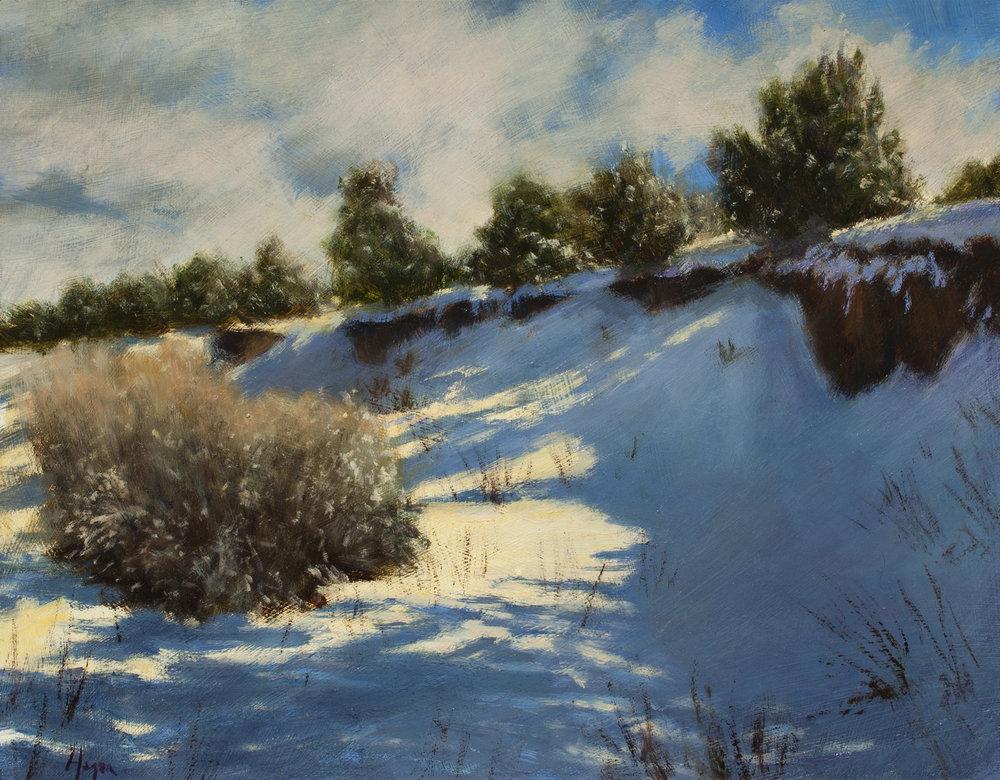 """Snow Drifted Arroyo • 11"""" x 14"""" • Oil"""