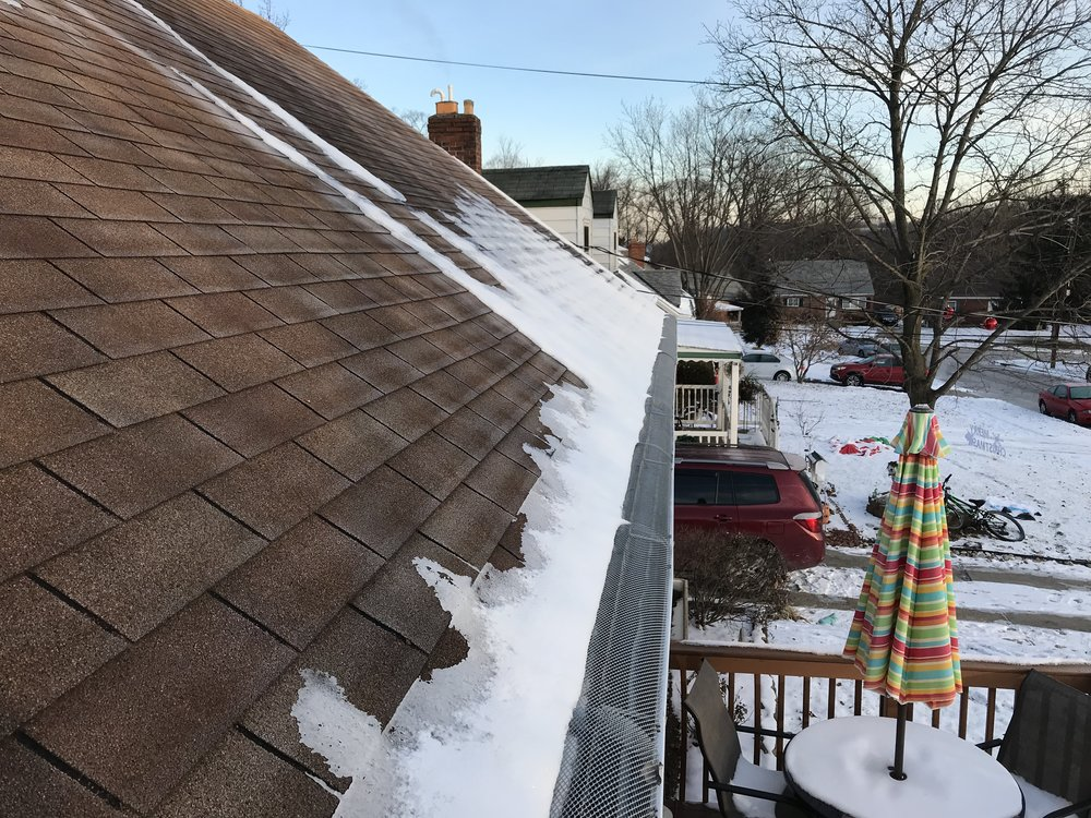 Ice Dam forming above gutters.