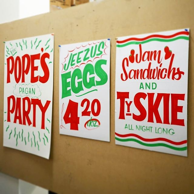 Happy Easter! And what's the best way to spend it? With an amazing paint jam!  My own being the easter/party/jam themed grocery signs for a little taste of the States and all the others were painted by the sign slingers of the day.  A huge thank you to Chris @toucan_signs and @donelondon for putting us on and of course all the brilliant painters of the day @jakesamueltyler @joe_col @hanasunnywhaler @theblackboardartist @theaboarddude @greateropacity @mia.warner.signpainter  #londonsigns #signpainters #signwriting #lettering #papersigns #easterpuns #toucan #twocan #alwayshandpaint #handpainted #murals #londonmural #lewisham #supportyourlocal