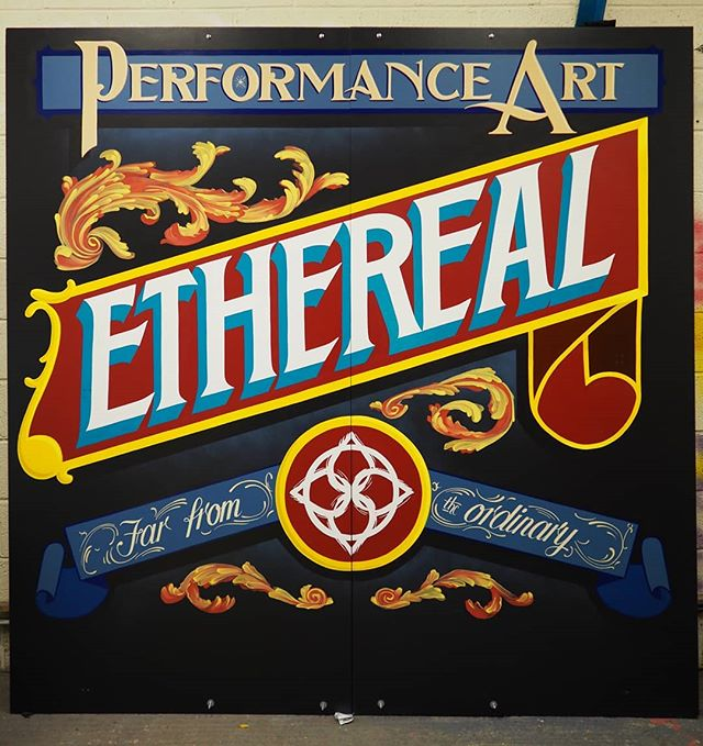 Finally finished this big 'un for the entertainment entrepreneurs @etherealperformance who are a performance troupe in bristol. Great people, great costumes and always a great show!  I was given total freedom with one from start to finish and glad to know it was exactly what they wanted. Excited to this display in action sometime soon.  #nofilter #signpaintinguk #signpainter #entertainers #performeranceart #lettering #handpainted #alwayshandpaint #novinyl