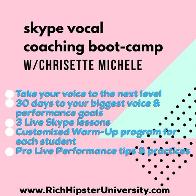 "After tons of requests to give coaching online, it's happening! Spaces ARE limited due to the intimate nature of the course. Having an absolute blast with the voice students so far! ✨ This Camp is for singers who want to hit the stage. ✨ It's for artists preparing for a performance, a studio recording, or any other pro singing event. ✨ We are also working with up and coming artists who are finding their niche and style. ✨ Go to www.RichHipsterUniversity.com and click ""Vocal Coaching"" for all the info!"